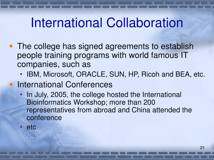 International Collaboration