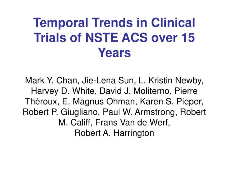 Temporal Trends in Clinical Trials of NSTE ACS over 15 Years