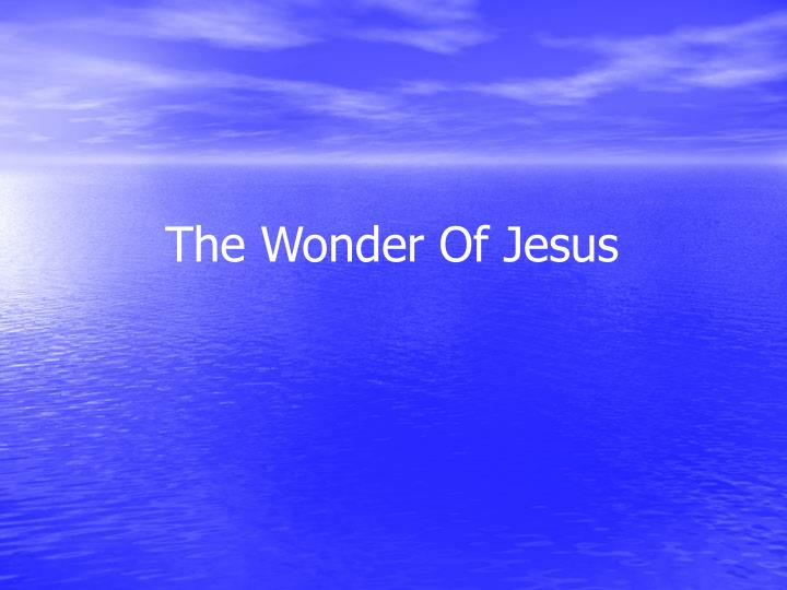 The Wonder Of Jesus
