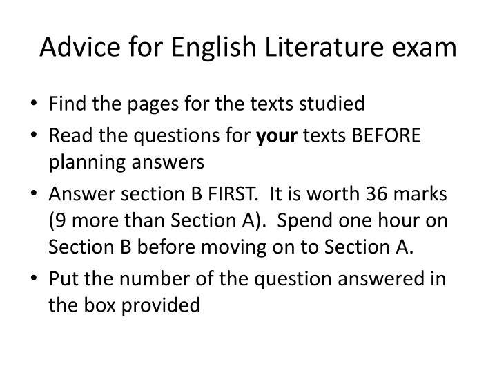 Advice for English Literature exam