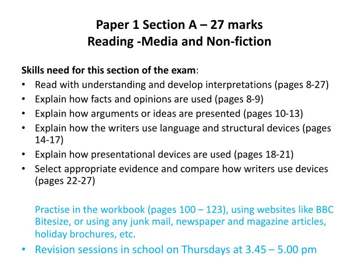Paper 1 section a 27 marks reading media and non fiction