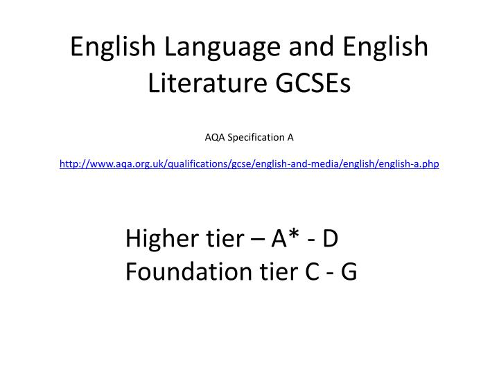 English Language and English Literature GCSEs