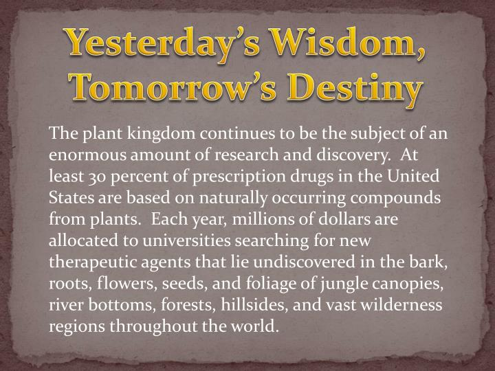 Yesterday s wisdom tomorrow s destiny