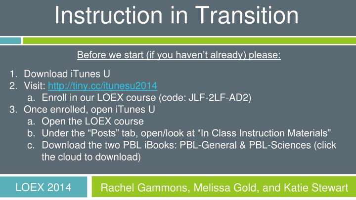 Instruction in Transition