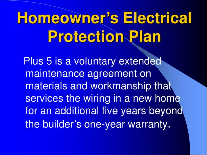 Homeowner's Electrical Protection Plan