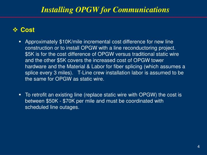 Installing OPGW for Communications