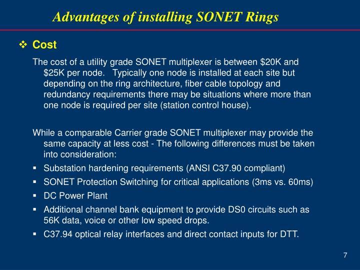 Advantages of installing SONET Rings