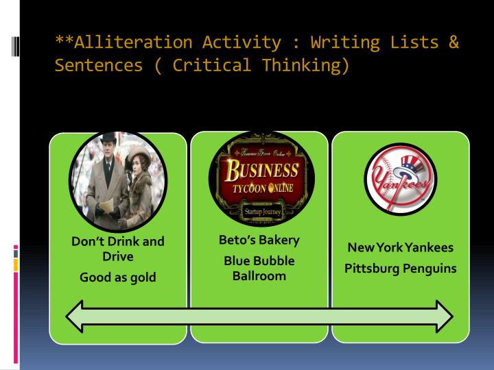 **Alliteration Activity : Writing Lists & Sentences ( Critical Thinking)