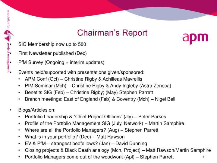Chairman's Report