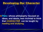 developing our character