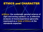 ethics and character