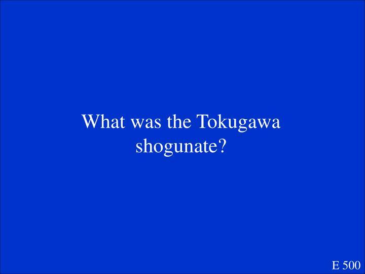 What was the Tokugawa shogunate?