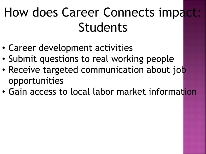 How does Career Connects impact: Students