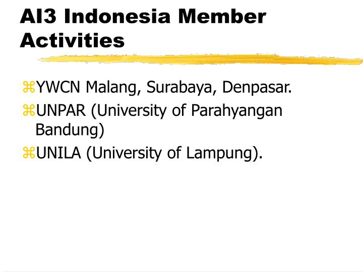 AI3 Indonesia Member Activities