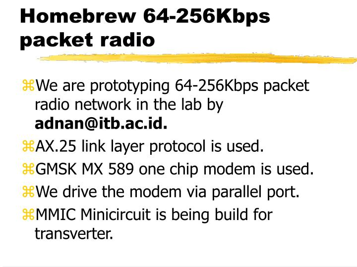 Homebrew 64-256Kbps packet radio