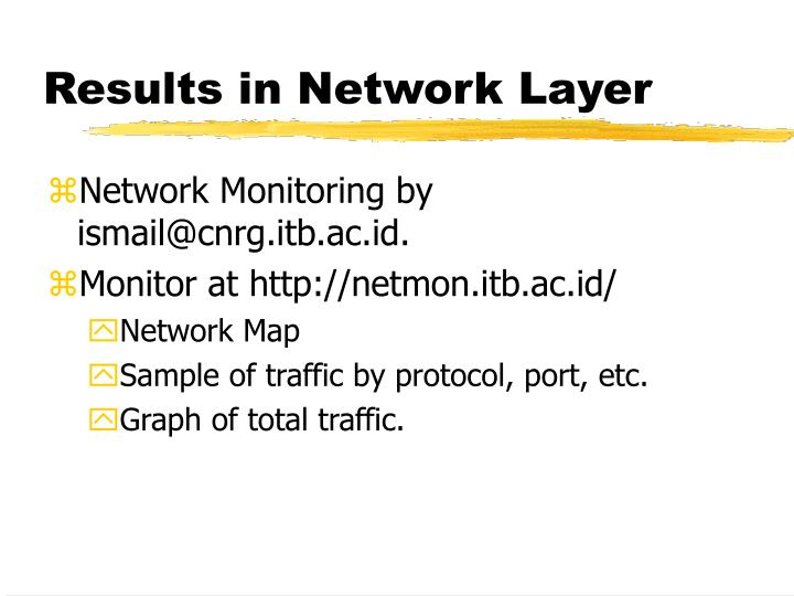 Results in Network Layer