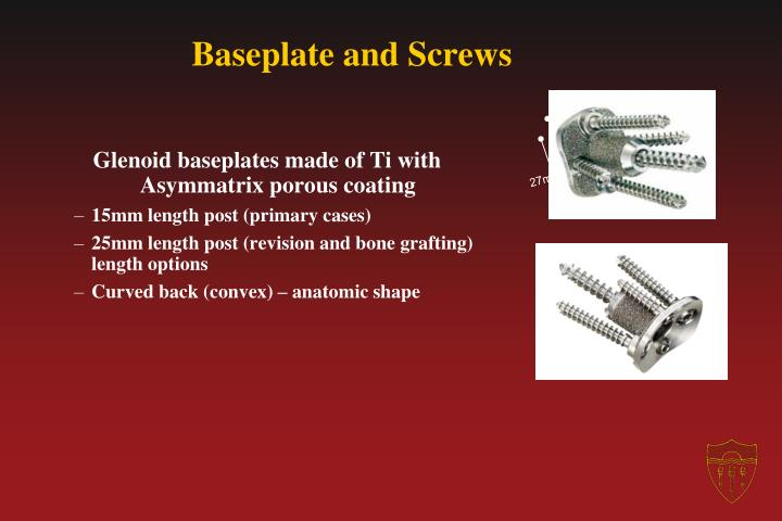 Baseplate and Screws