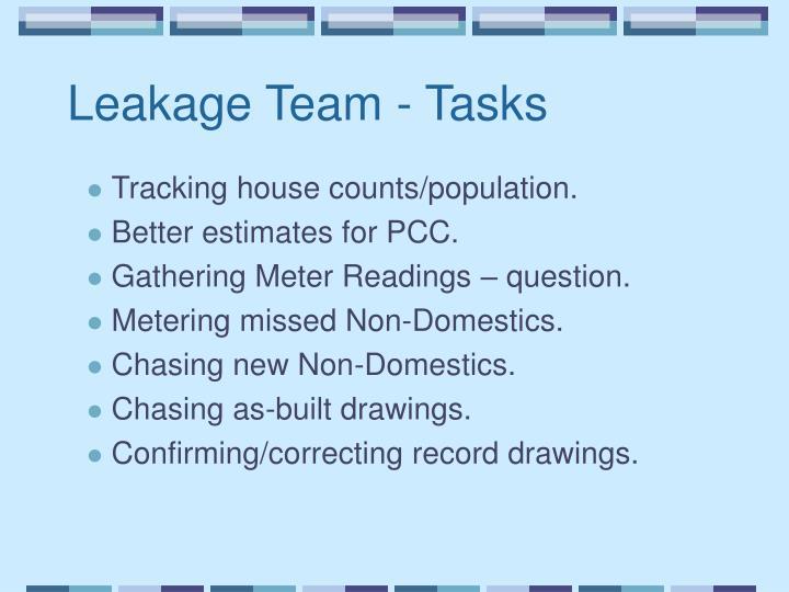 Leakage Team - Tasks