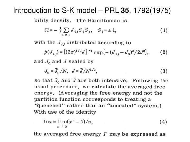 Introduction to S-K model – PRL
