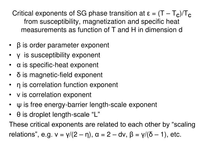 Critical exponents of SG phase transition at