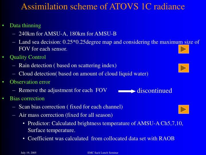Assimilation scheme of ATOVS 1C radiance