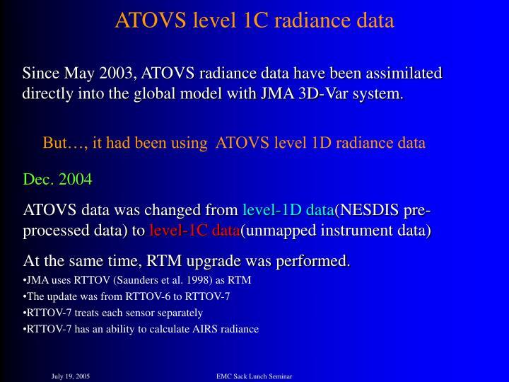 ATOVS level 1C radiance data