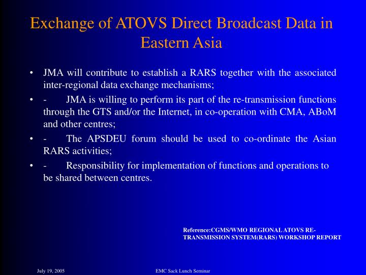 Exchange of ATOVS Direct Broadcast Data in Eastern Asia