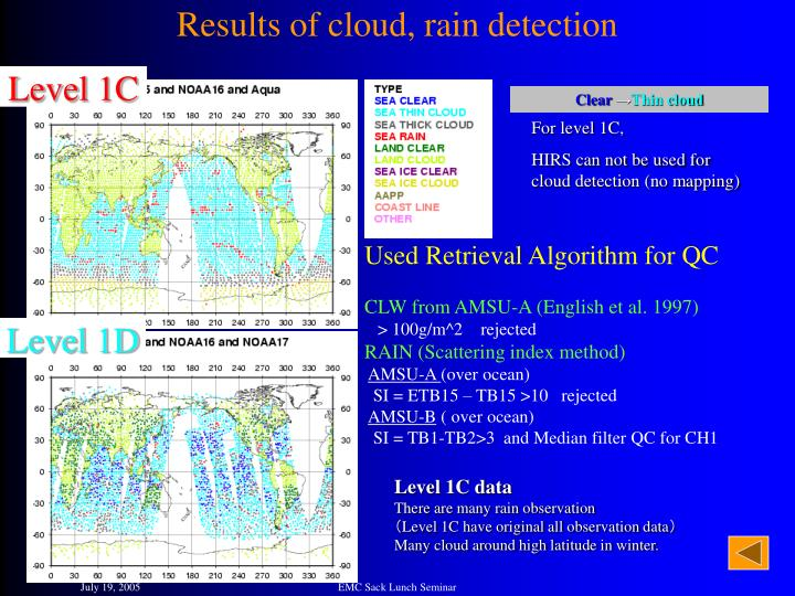 Results of cloud, rain detection