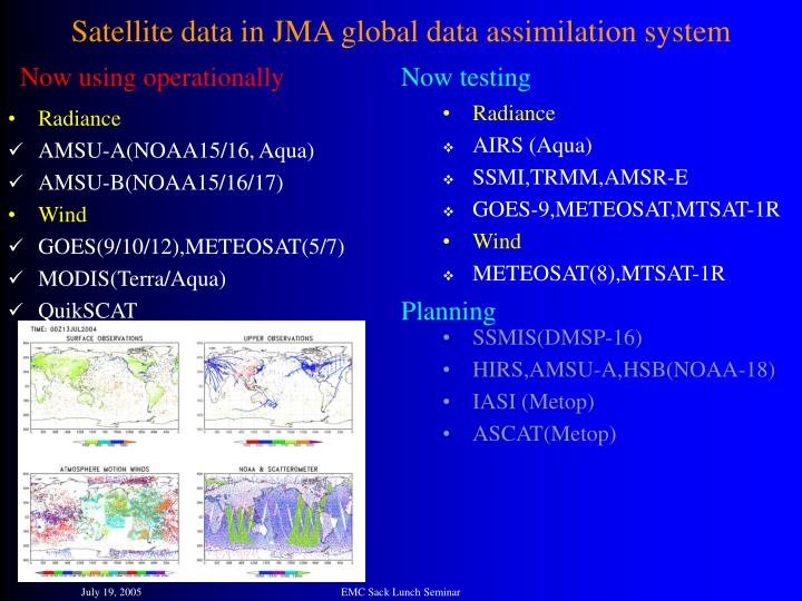 Satellite data in JMA global data assimilation system
