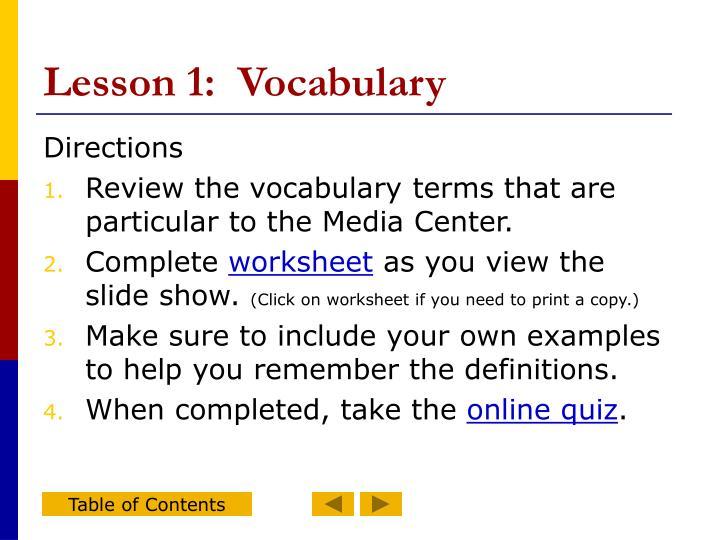 Lesson 1:  Vocabulary
