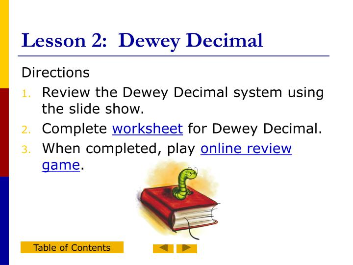 Lesson 2:  Dewey Decimal