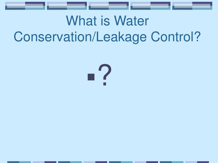 What is Water Conservation/Leakage Control?