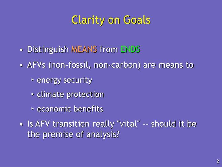 Clarity on Goals