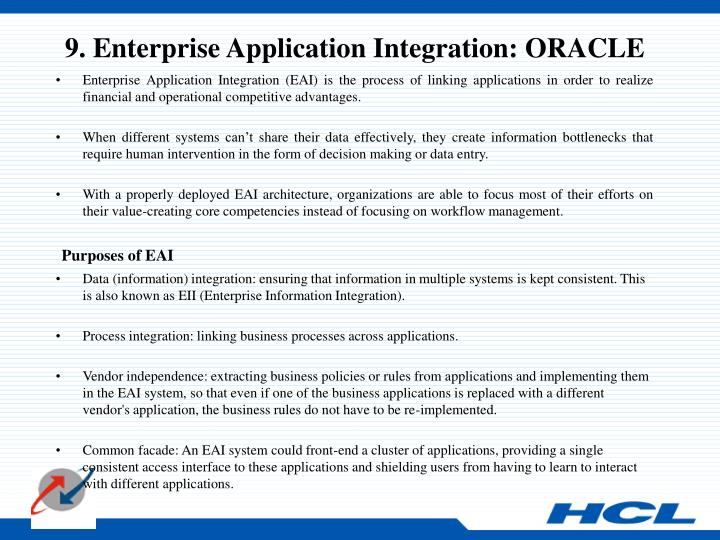 9. Enterprise Application Integration: ORACLE