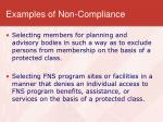 examples of non compliance