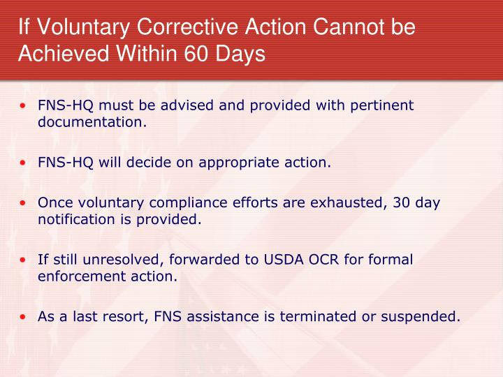 If Voluntary Corrective Action Cannot be Achieved Within 60 Days