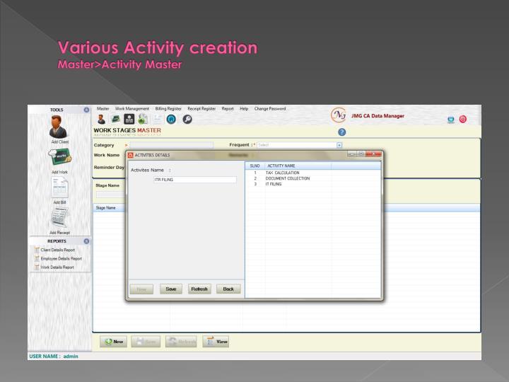 Various Activity creation