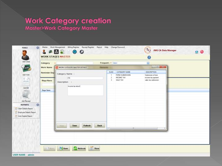 Work Category creation