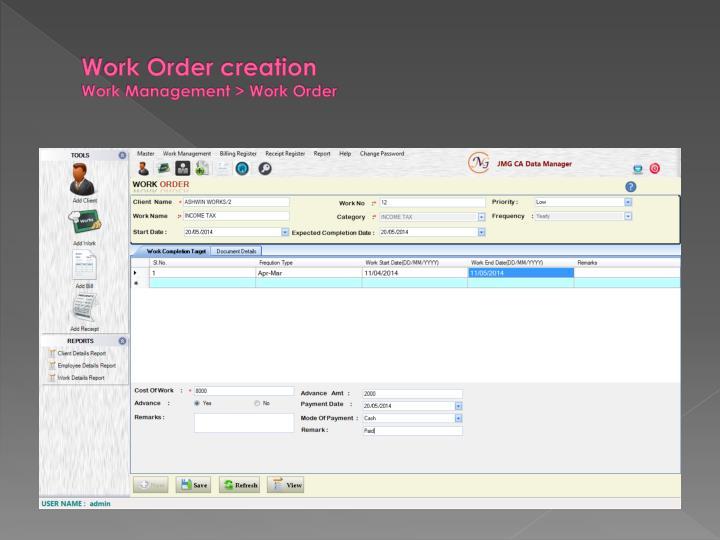 Work Order creation