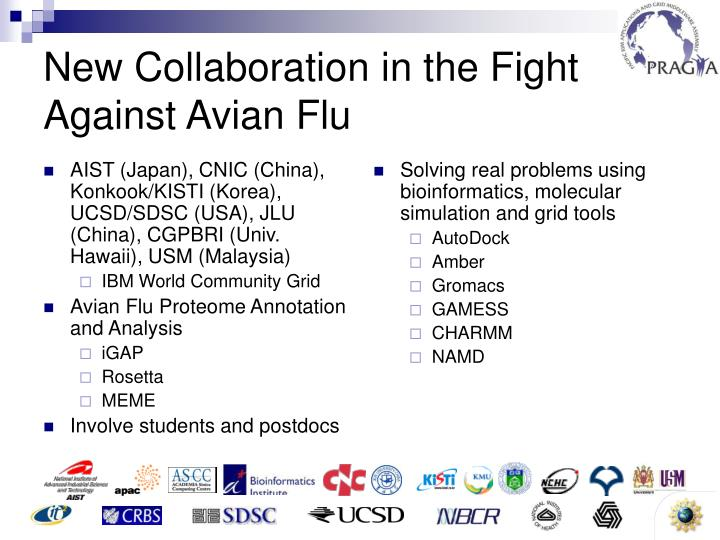 AIST (Japan), CNIC (China), Konkook/KISTI (Korea), UCSD/SDSC (USA), JLU (China), CGPBRI (Univ. Hawaii), USM (Malaysia)