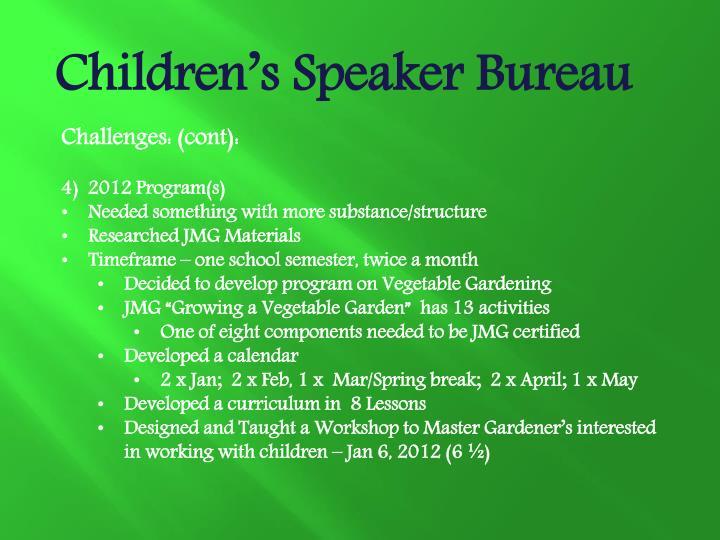 Children's Speaker Bureau