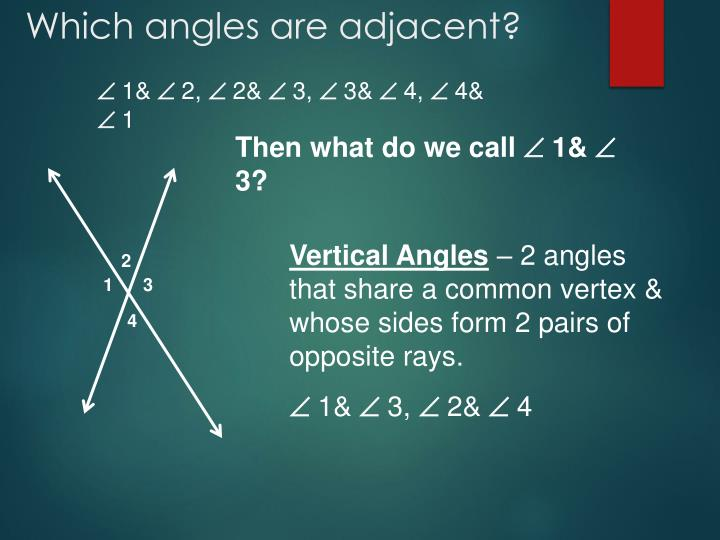 Which angles are adjacent?