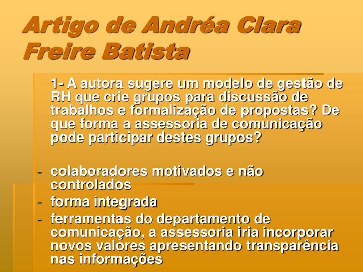 Artigo de Andréa Clara Freire Batista
