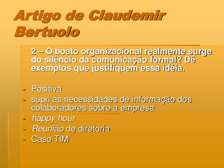 Artigo de Claudemir Bertuolo