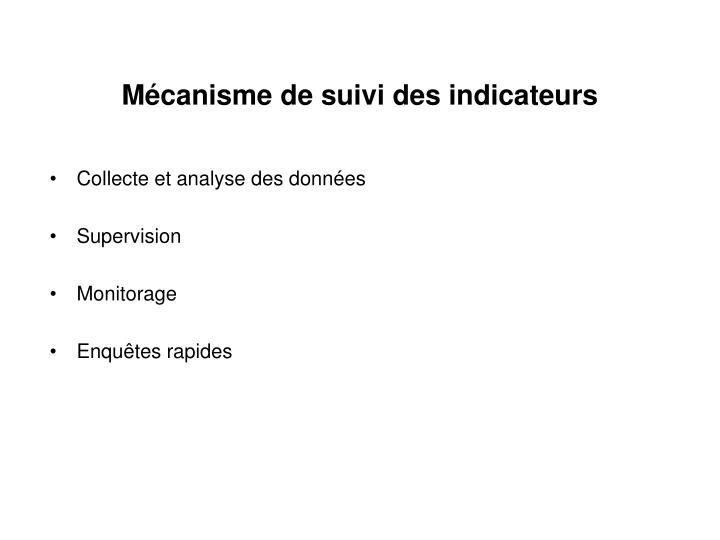 Mécanisme de suivi des indicateurs