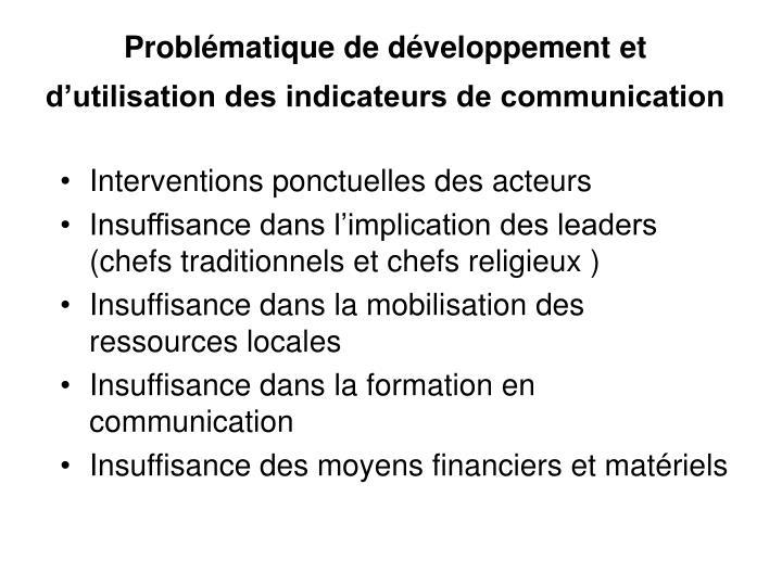Problématique de développement et d'utilisation des indicateurs de communication