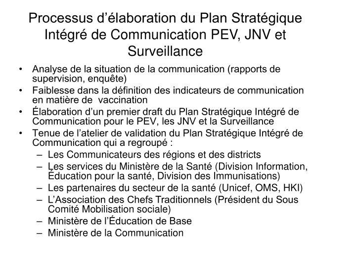 Processus d'élaboration du Plan Stratégique Intégré de Communication PEV, JNV et Surveillance