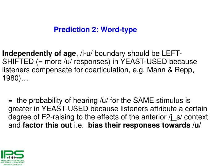 Prediction 2: Word-type