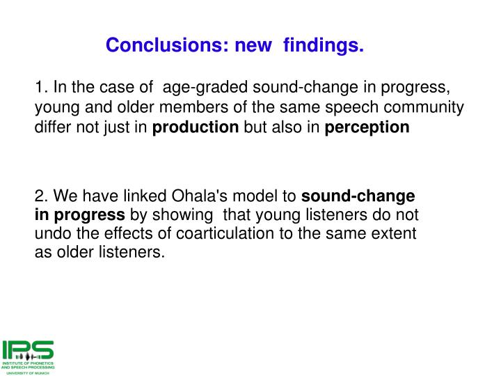 Conclusions: new  findings.