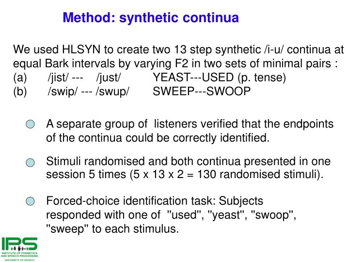 A separate group of  listeners verified that the endpoints of the continua could be correctly identified.